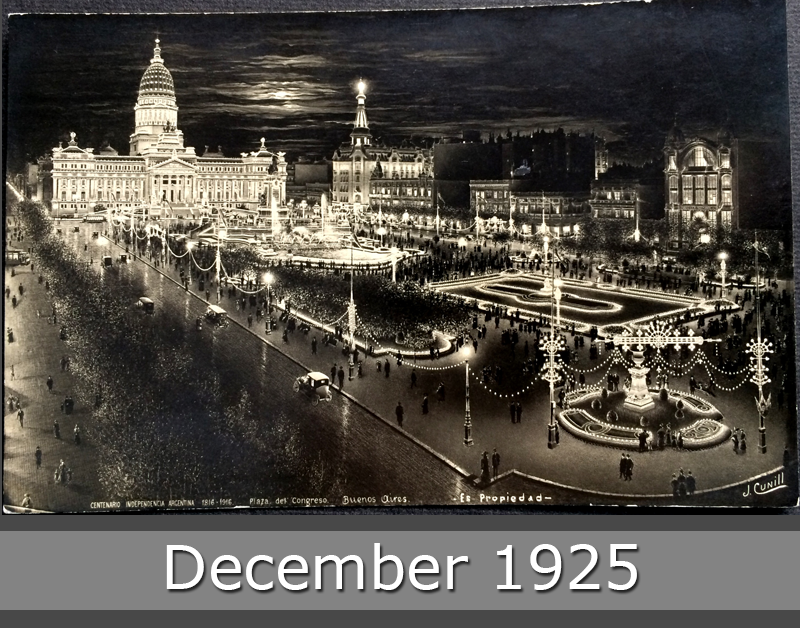 Project Postcard December 1925 - Buenos Aires Argentina Congress Square by night front