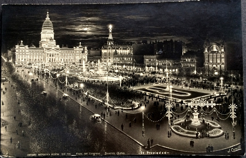 Project Postcard December 1925 - Buenos Aires Argentina Congress Square by night