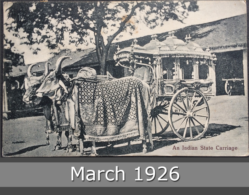 Project Postcard March 1926 - Indian State Carriage front