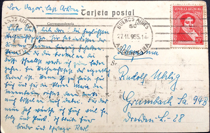 Project Postcard November 1935 - Buenos Aires Argentina Monument to the two congresses back