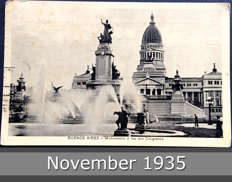 Project Postcard November 1935 - Buenos Aires Argentina Monument to the two congresses front