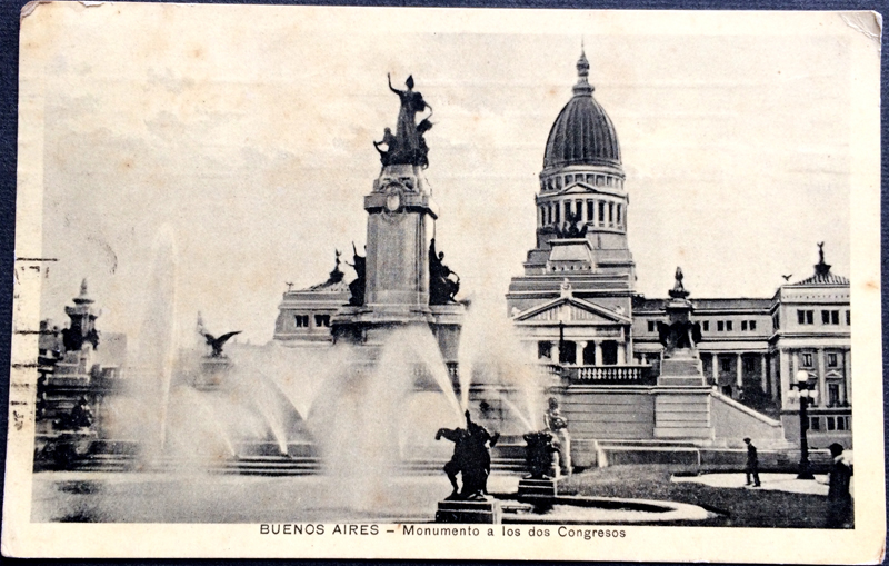 Project Postcard November 1935 - Buenos Aires Argentina Monument to the two congresses