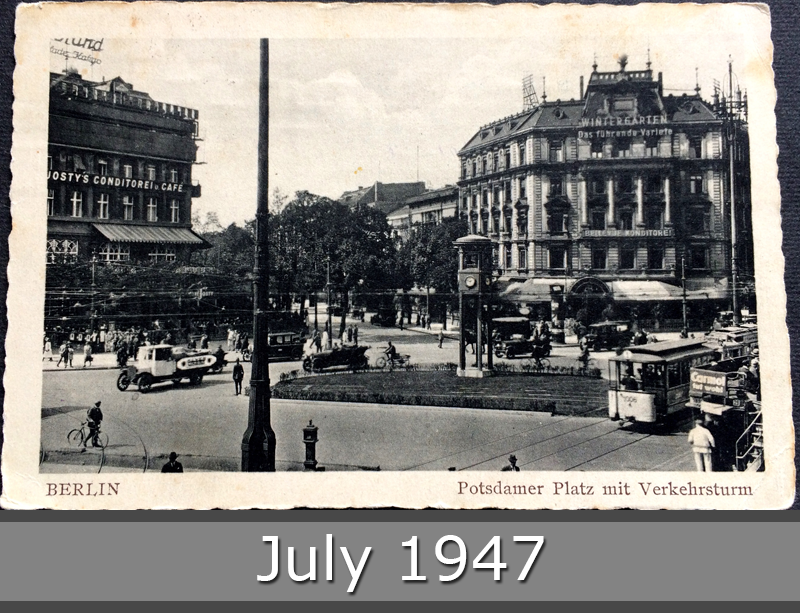 Project Postcard July 1947 - Berlin Germany Potsdamer Platz with traffic tower front