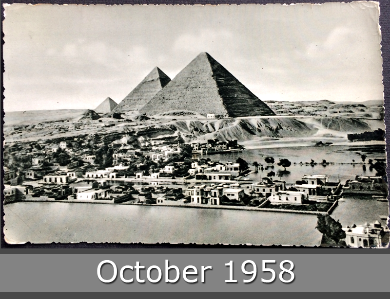 Project Postcard October 1958 - Egypt The Pyramids and Mena Village during Nile flood front