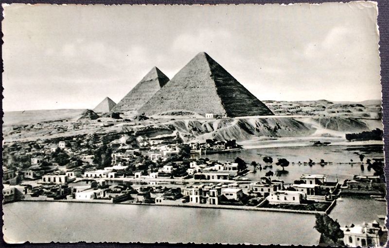 Project Postcard October 1958 - Egypt The Pyramids and Mena Village during Nile flood