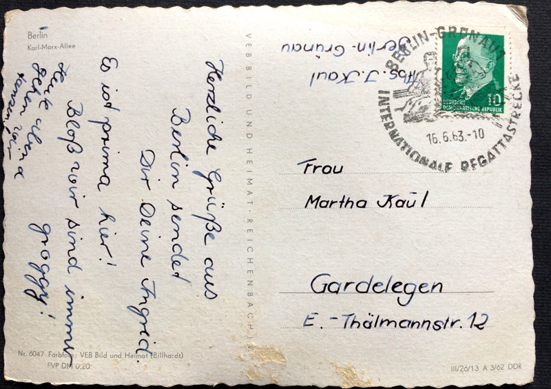 Project Postcard June 1963 - East-Berlin GDR Karl-Marx-Allee and police men back