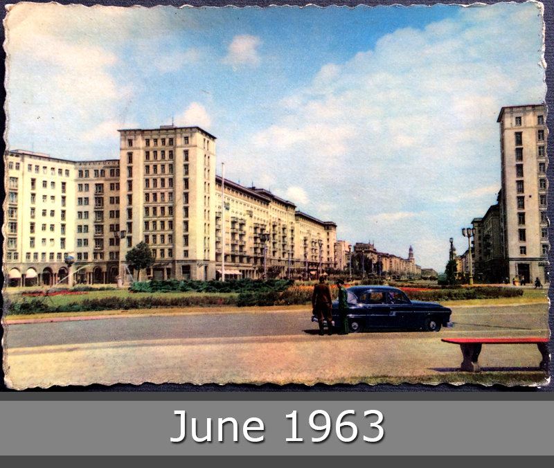 Project Postcard June 1963 - East-Berlin GDR Karl-Marx-Allee and police men front