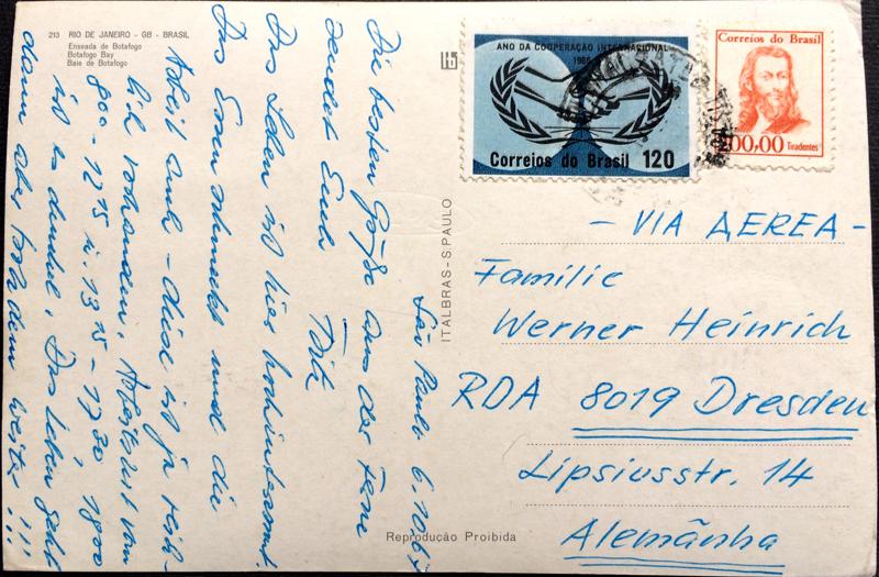 Project Postcard October 1967 - Rio de Janeiro Brazil Botafogo Bay by night back