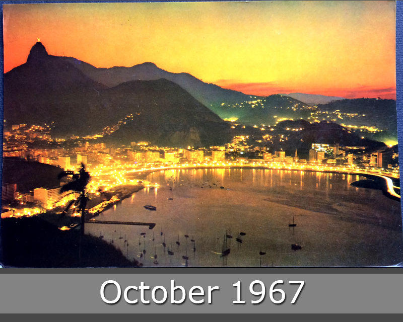 Project Postcard October 1967 - Rio de Janeiro Brazil Botafogo Bay by night front