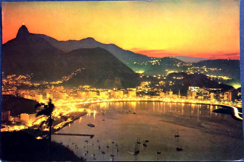 Project Postcard October 1967 - Rio de Janeiro Brazil Botafogo Bay by night
