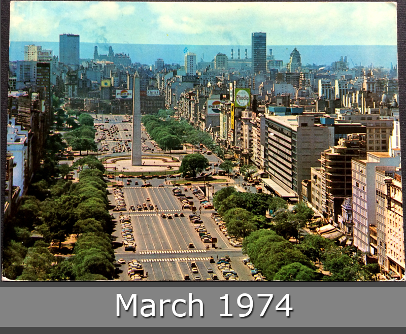 Project Postcard March 1974 - Buenos Aires Argentina Avenue July 9 front