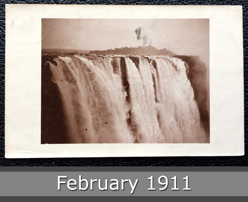 Project Postcard February 1911 - waterfalls Rhodesia front