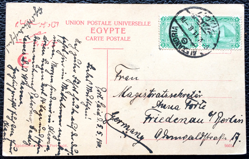 Project Postcard May 1911 - Port Said Egypt Statue Ferdinand de Lesseps back