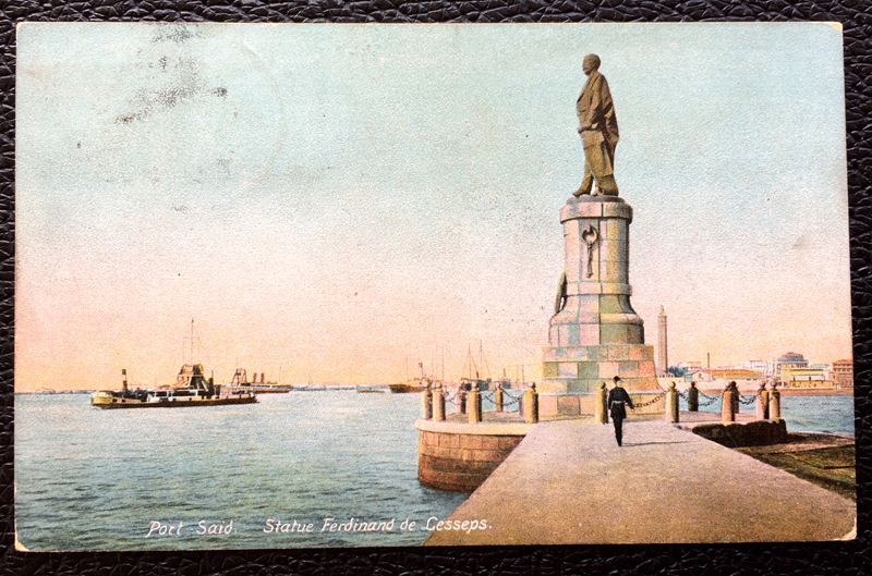 Project Postcard May 1911 - Port Said Egypt Statue Ferdinand de Lesseps