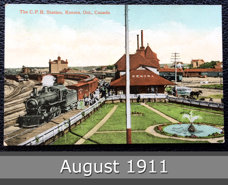 Project Postcard August 1911 - C.P.R. station in Kenora Ontario Canada front