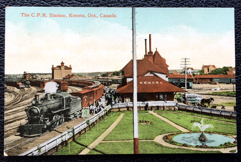 Project Postcard August 1911 - C.P.R. station in Kenora Ontario Canada