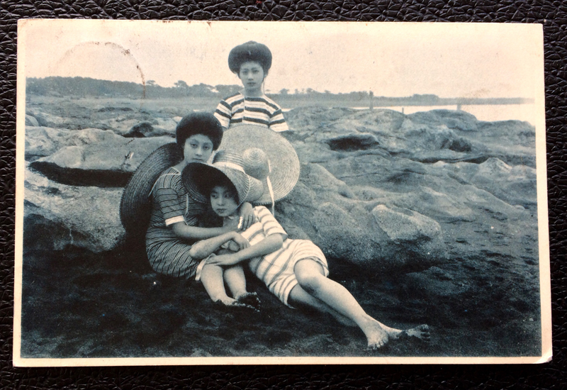 Project Postcard September 1912 - beachwear - Japanes ladies on the beach
