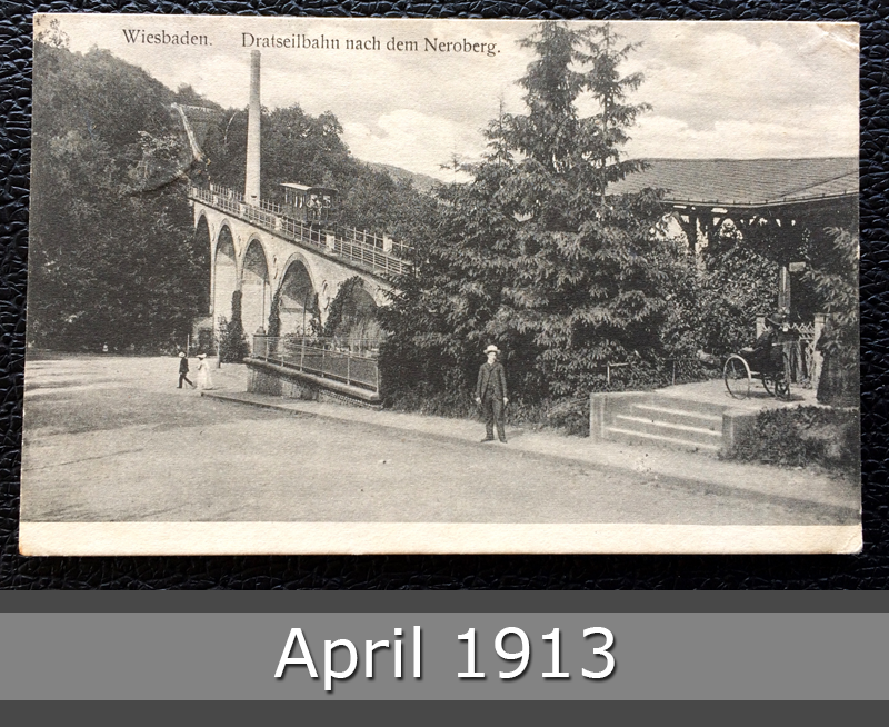 Project Postcard April 1913 - Wiesbaden Germany Drahtseilbahn Neroberg front