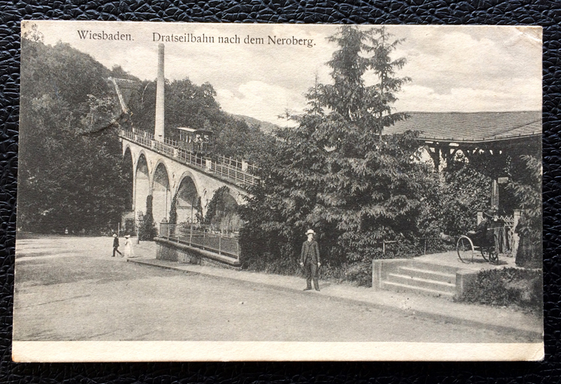 Project Postcard April 1913 - Wiesbaden Germany Drahtseilbahn Neroberg