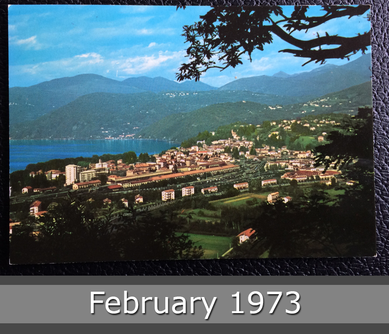 Project Postcard February 1973 - Luino Lake Garda front