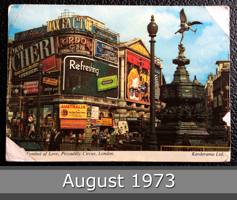 Project Postcard August 1973 - London UK Piccadilly Circus front