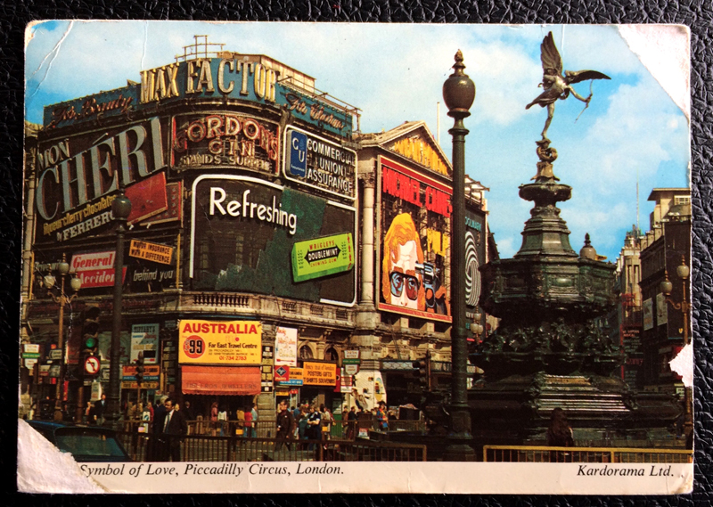 Project Postcard August 1973 - London UK Piccadilly Circus