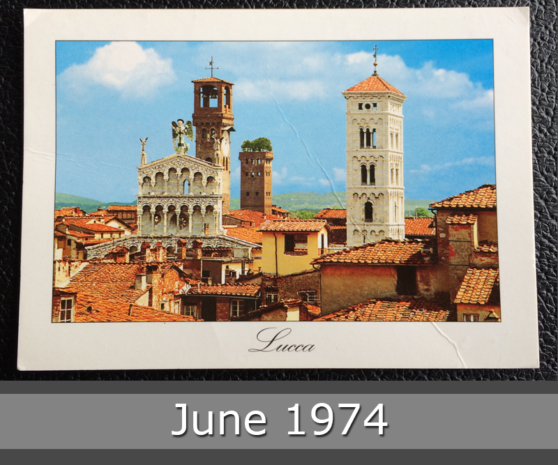 Project Postcard June 1974 - Lucca Italy churches front