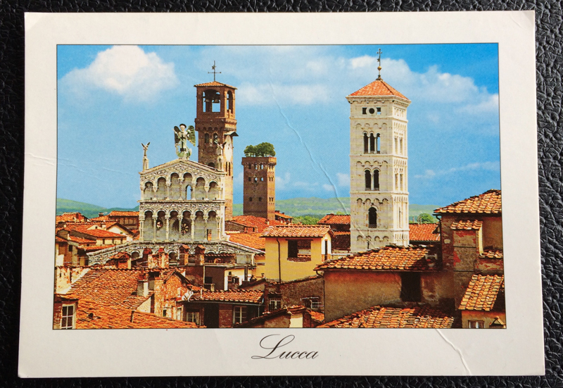 Project Postcard June 1974 - Lucca Italy churches