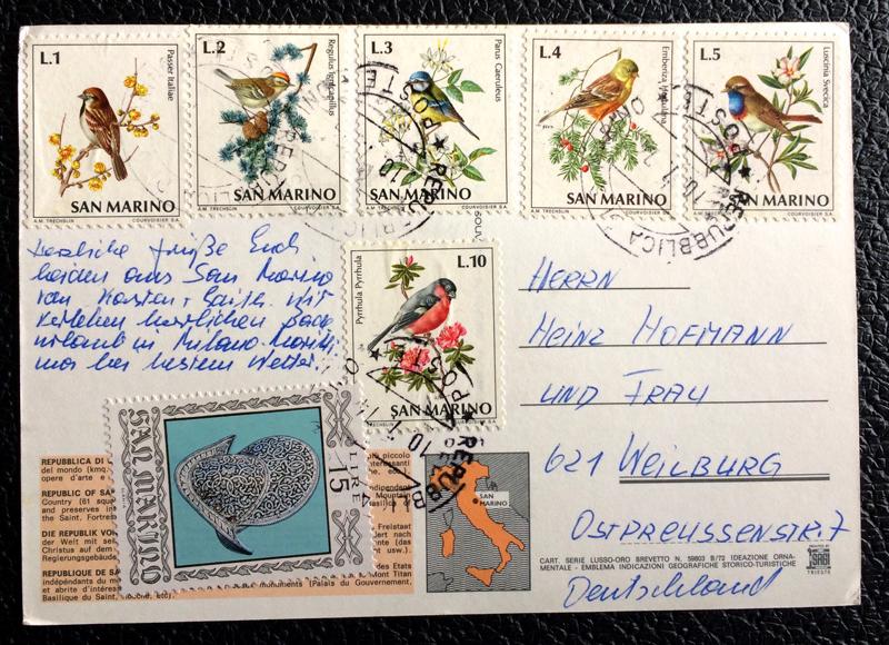 Project Postcard July 1974 - San Marino Castle back