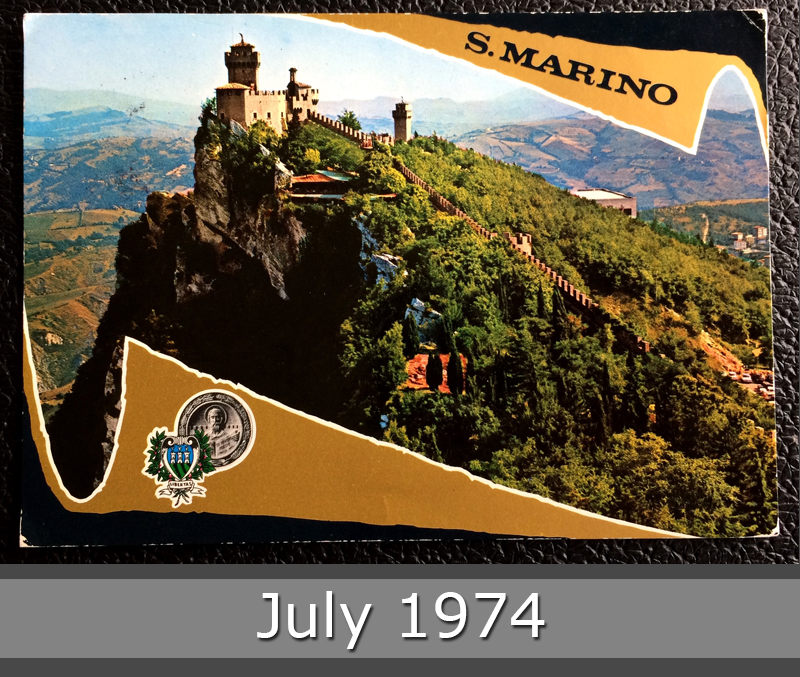 Project Postcard July 1974 - San Marino Castle front