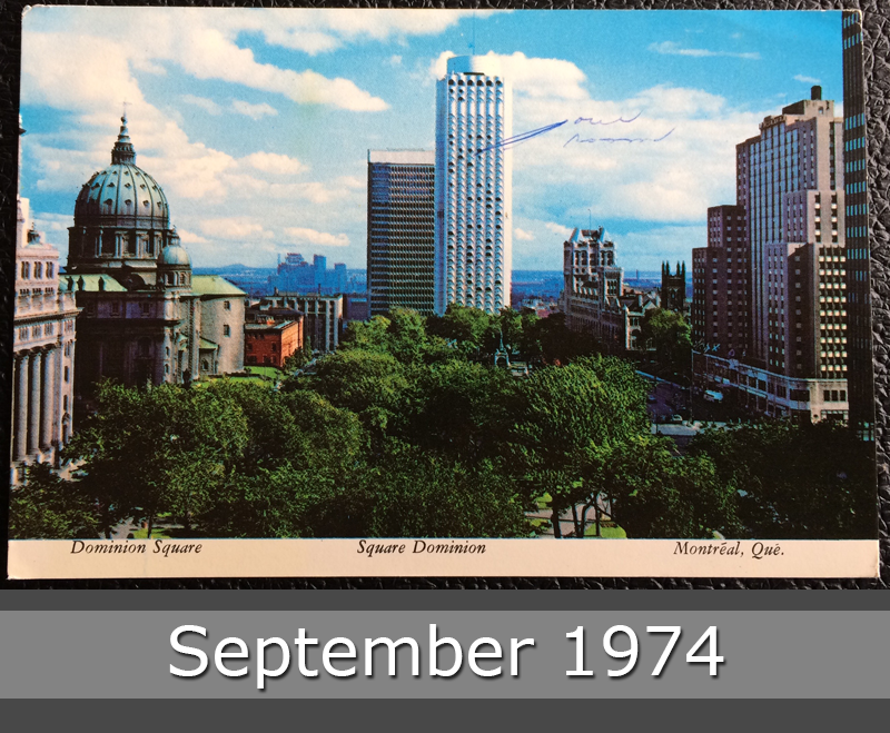 Project Postcard September 1974 - Dominion Square Montréal Canada front
