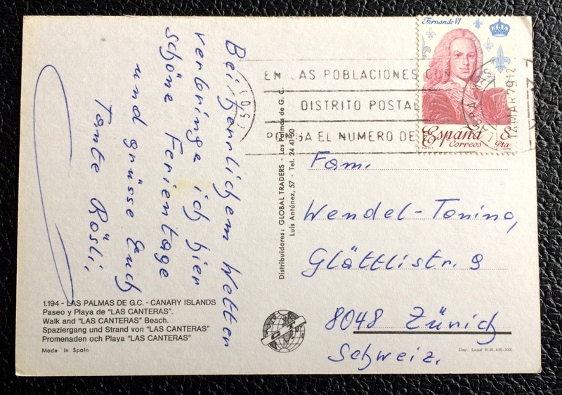 Project Postcard March 1979 - Las Palmas Canary Islands Spain back