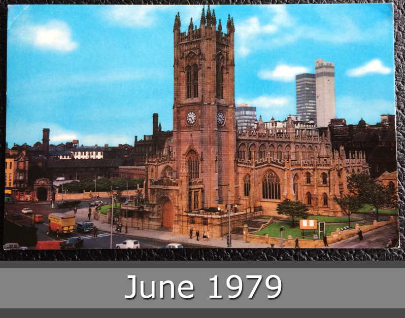 Project Postcard June 1979 - The Cathedral of Manchester UK Great Britain front