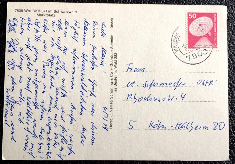Project Postcard July 1979 - Waldkirch in Schwarzwald Germany back