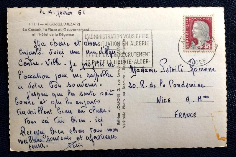 Project Postcard February 1961 - Algiers Algeria La Casbah back
