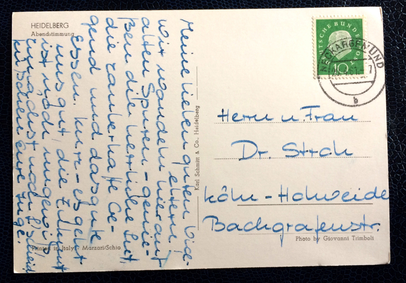 Project Postcard April 1961 - Heidelberg Germany back