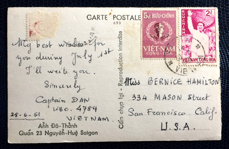 Project Postcard June 1961 - Saigon Vietnam Nha Trang fishermens village back