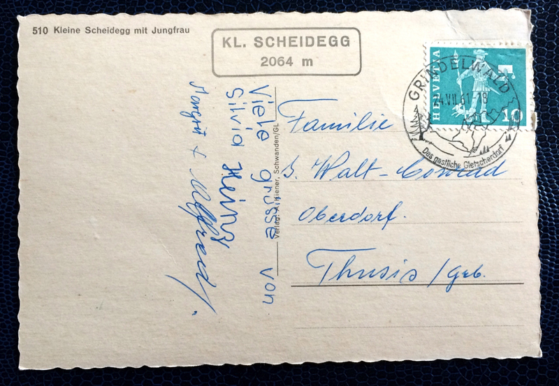 Project Postcard July 1961 - Little Scheidegg in Schwitzerland back