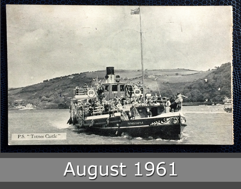 "Project Postcard August 1961 - boat P.S. ""Totnes Castle"" UK Great Britain front"