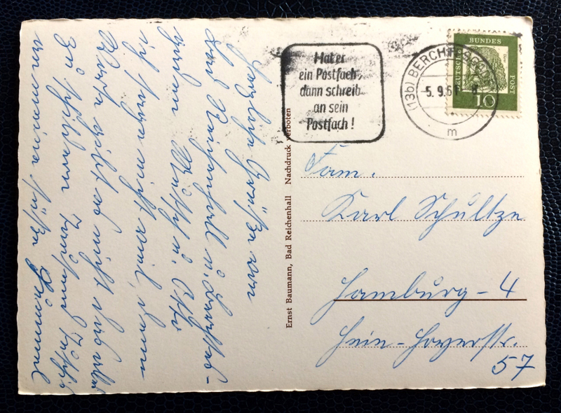Project Postcard September 1961 - Kehlsteinstraße winding road in the alps Bavaria Germany back