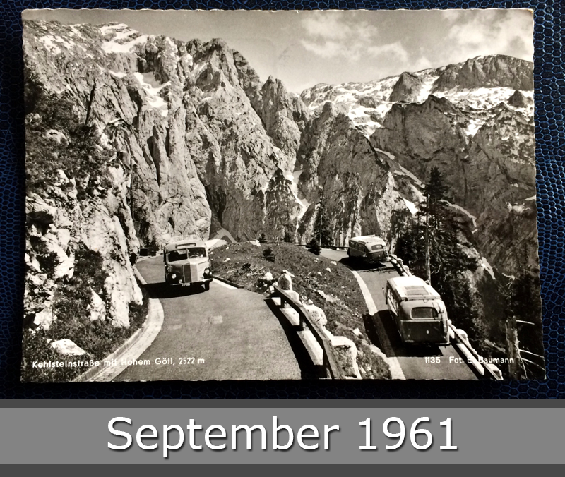 Project Postcard September 1961 - Kehlsteinstraße winding road in the alps Bavaria Germany front