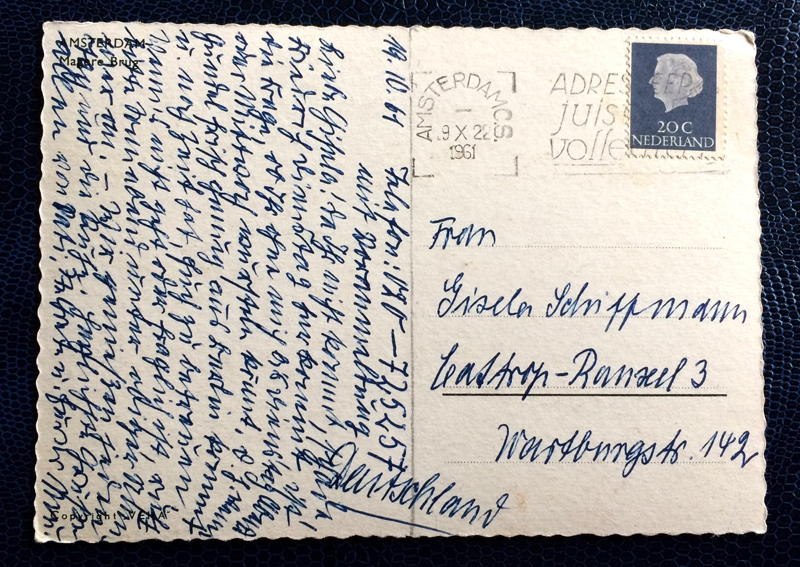 Project Postcard October 1961 - Amsterdam canals Netherlands Nederland back