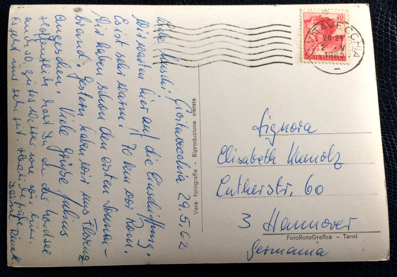 Project Postcard May 1962 - Port of Civitavecchia Italy back