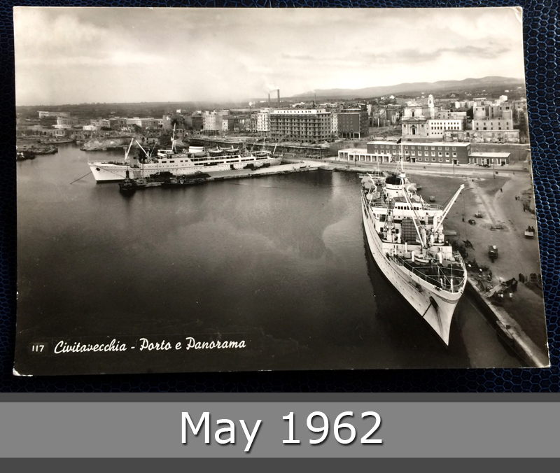 Project Postcard May 1962 - Port of Civitavecchia Italy front