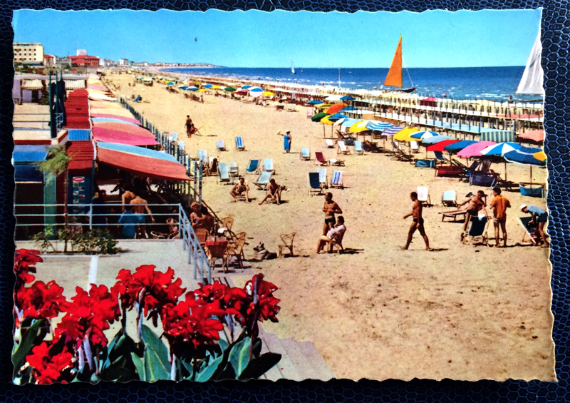 Project Postcard June 1962 - Riccione beach Adria Italy