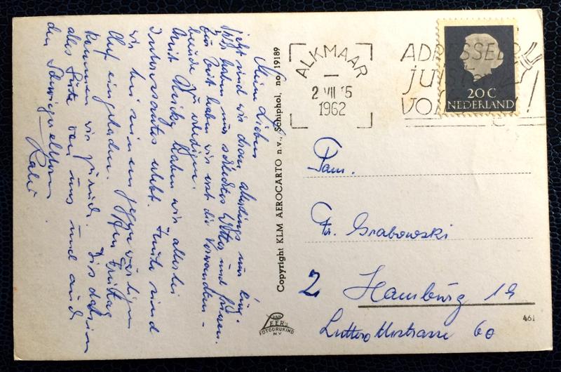 Project Postcard July 1962 - Alkmaar Kaasmarkt Netherlands Nederland back