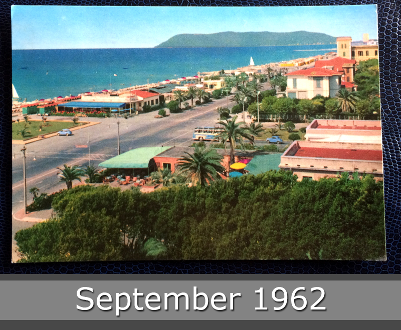 Project Postcard September 1962 - Marina di Massa Avenue along the sea Italy front