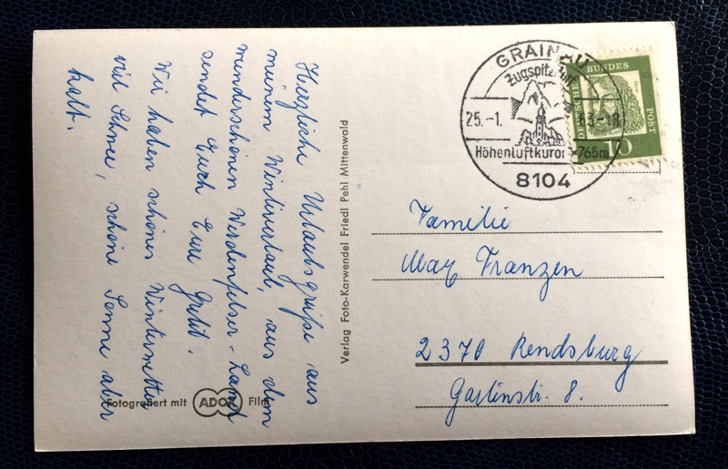 Project Postcard January 1963 - Garmisch-Partenkirchen Bavaria Germany Dreitorspitze alps back