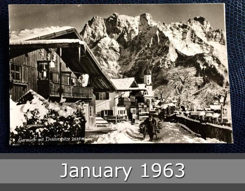 Project Postcard January 1963 - Garmisch-Partenkirchen Bavaria Germany Dreitorspitze alps front