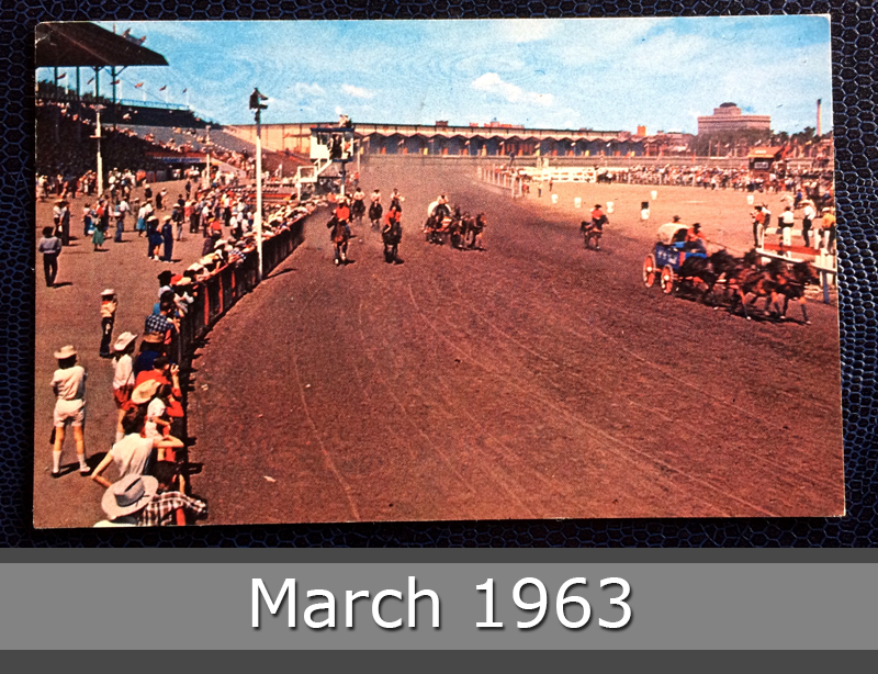 Project Postcard March 1963 - The famous Chuck Wagon Races in Calgary, Alberta, Canada front